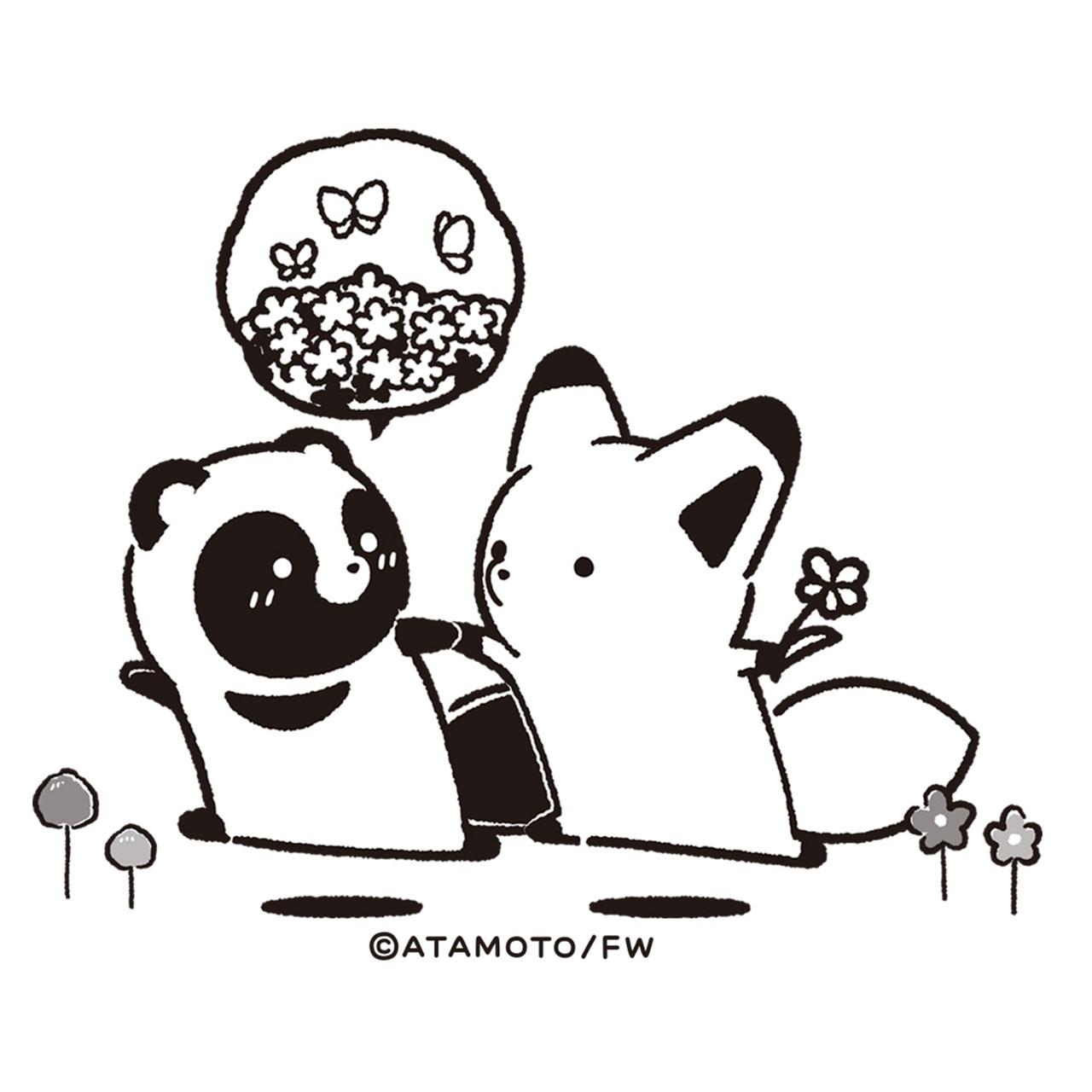 タヌキとキツネ よだれかけ(黒)